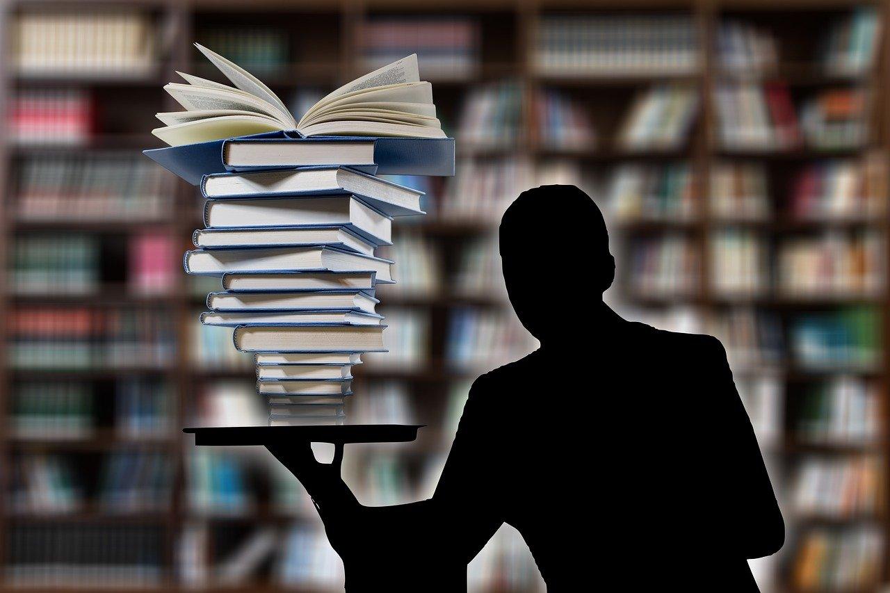 books, man, person